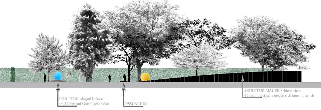 Entwurf Ansicht Gedenkstätte Westseite Blick nach Innen
